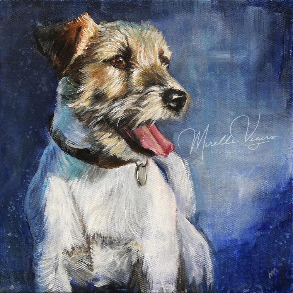 Kleintje Kunst acryl portret van hondje bobby op doek geschilderd door Mirelle Vegers