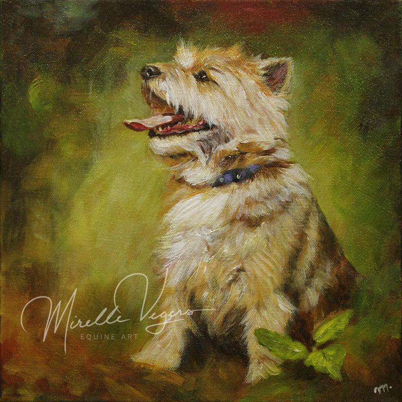 kleintje kunst - klein acryl portret op doek van een hond (terrier) door Mirelle Vegers