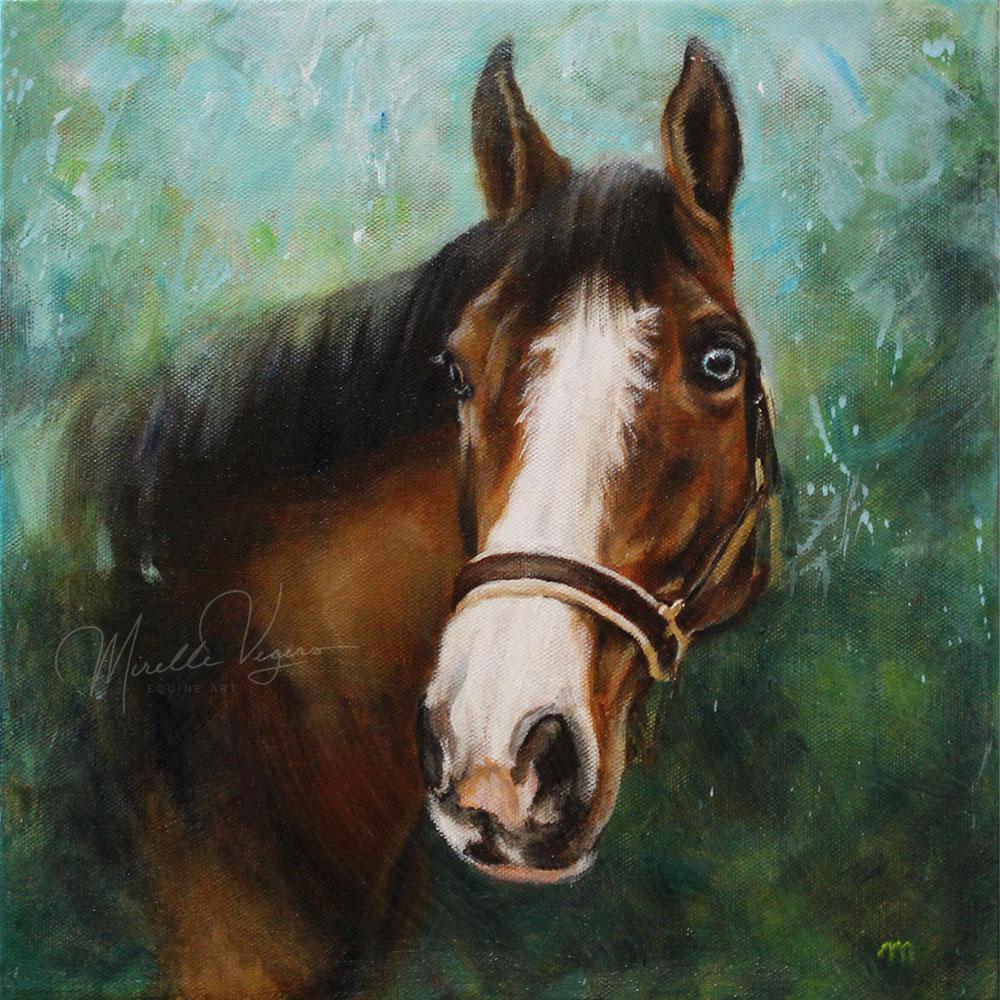 kleintje kunst - klein acryl portret op doek van een paardenhoofd door Mirelle Vegers