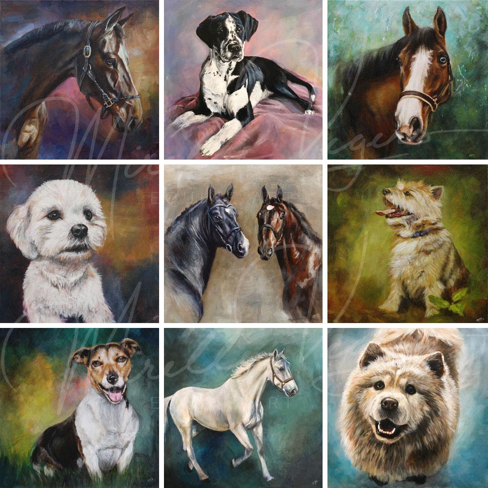schilderijen door mirelle vegers, kleintje kunst voorbeelden, portretten van honden en paarden