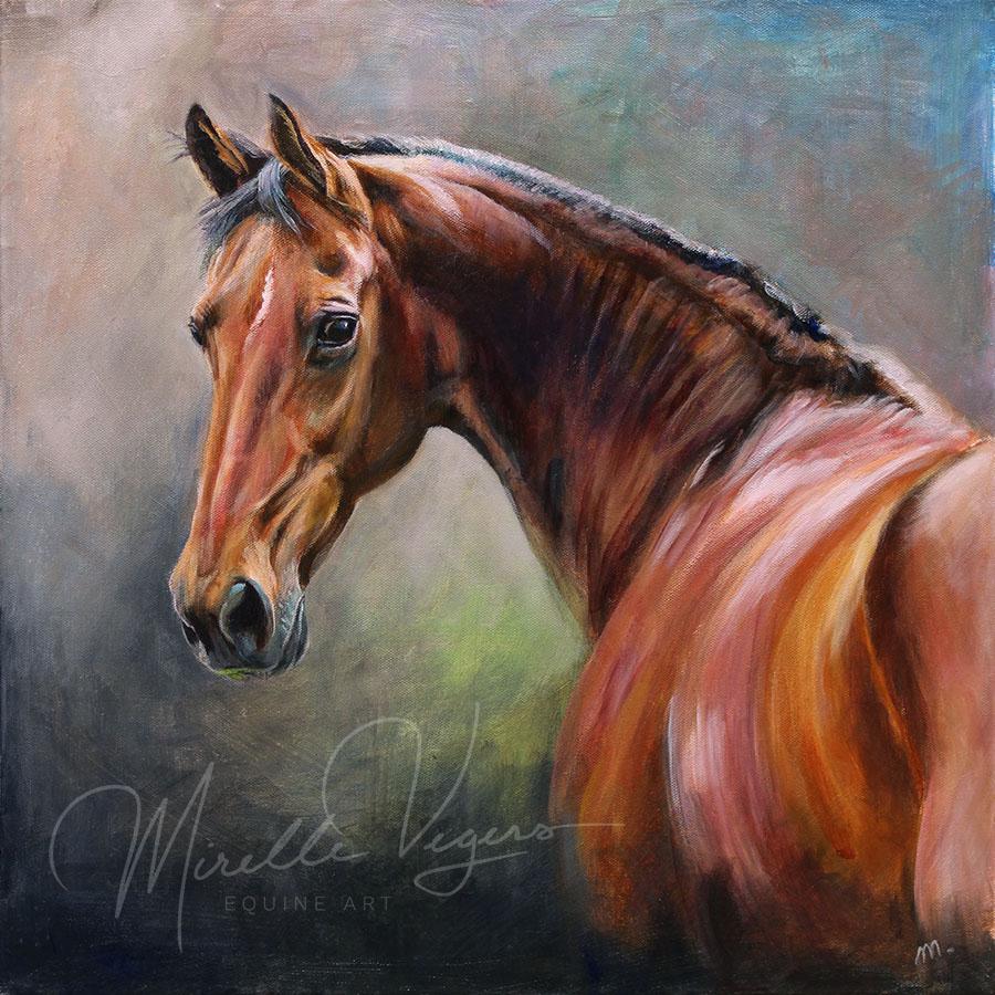 Kleintje Kunst acryl portret van paard Whisper op doek geschilderd door Mirelle Vegers