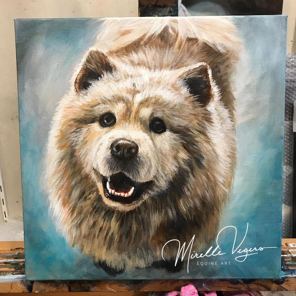 kleintje kunst - klein acryl portret op doek van een hond (chow chow) door Mirelle Vegers