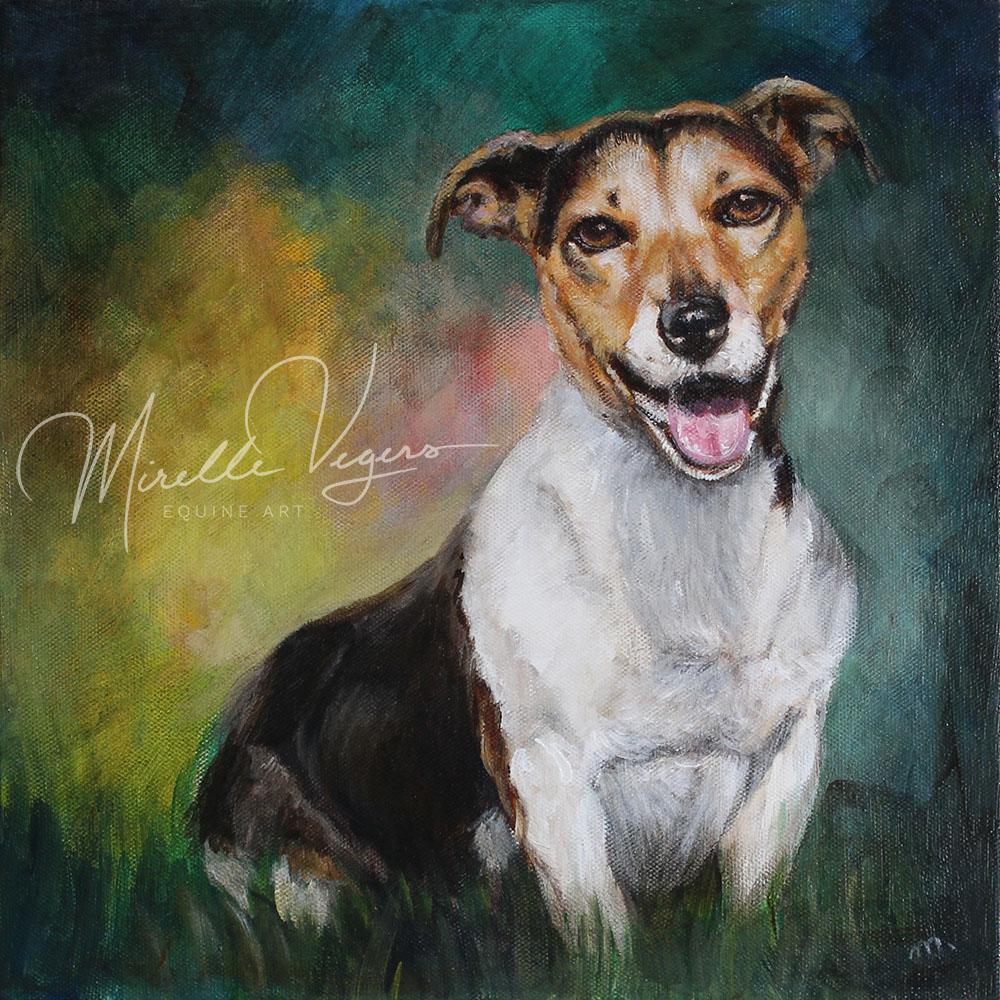 kleintje kunst - klein acryl portret op doek van een hond (jack russel) door Mirelle Vegers