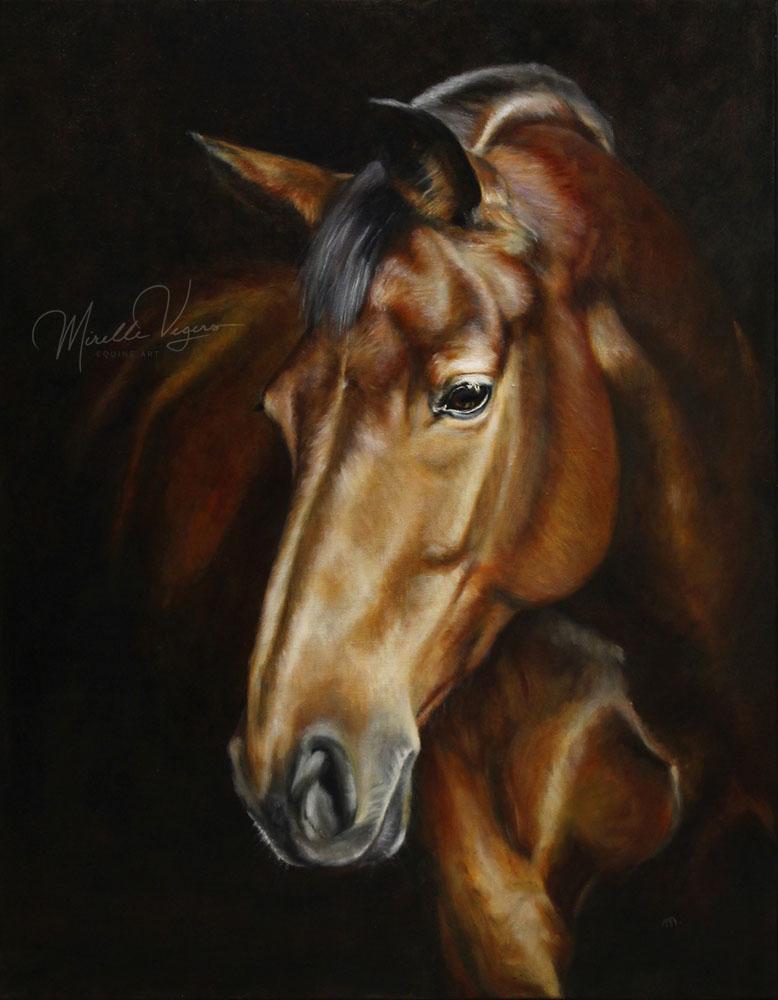 Portret van een bruin paard door mirelle vegers olieverf schilderij op doek