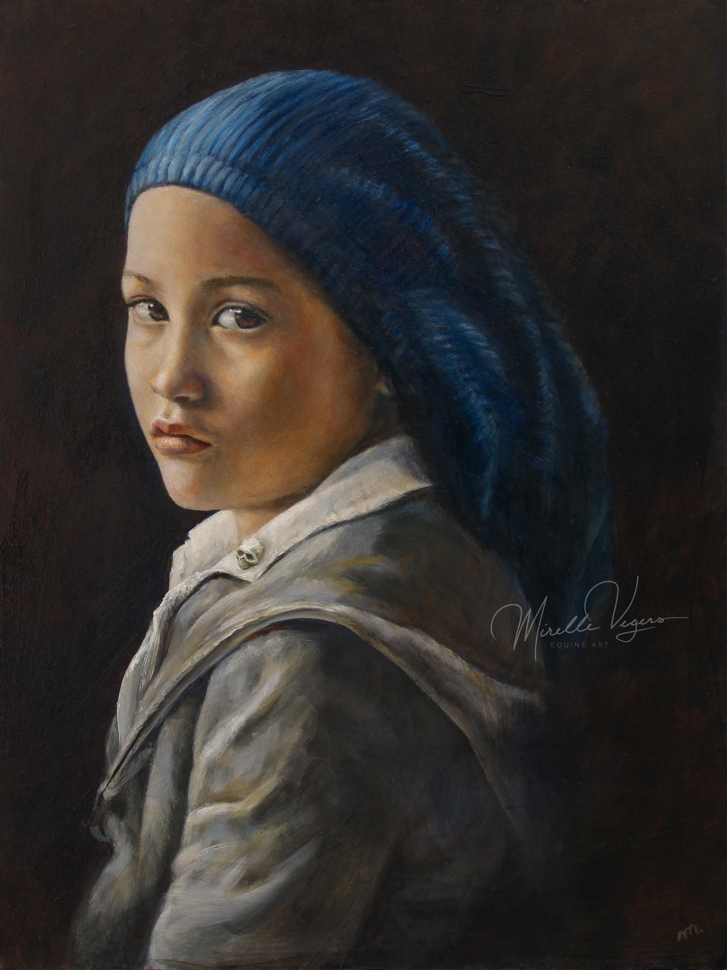Portret van een jongen door Mirelle Vegers in olieverf